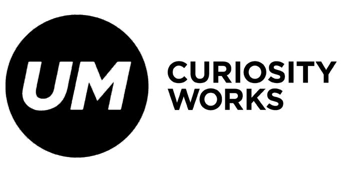 UM Curiosity Works Logo in schwarz-weiß
