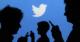 Von einem blauen Hintergrund mit dem Twitter-Logo in der Mitte heben sich die schwarzen Silhouetten von drei Personen mit Handys in den Händen ab.