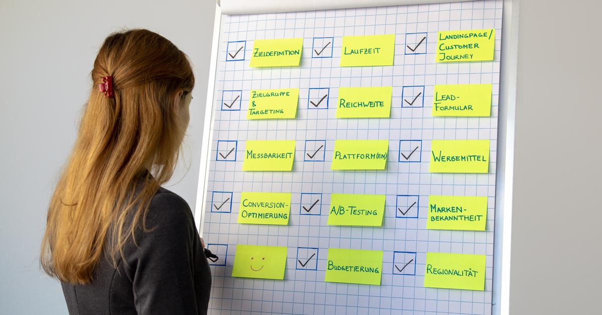 Das Bild zeigt eine Frau, die an einer Flipchart eine Checkliste abhakt. Die Checkliste fasst die wichtigsten Punkte zusammen, auf die bei Social Media Ads geachtet werden sollte: Zieldefinition, Zielgruppe und Targeting, Messbarkeit, Conversion-Optimierung, Laufzeit, Reichweite, Plattform/Plattformen, A/B-Testing, Budgetierung, Landingpage/Customer Journey, Lead-Formular, Werbemittel, Markenbekanntheit, Regionalität.