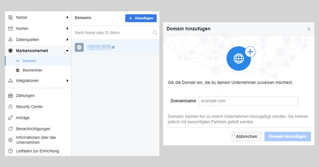 Das Bild zeigt zwei Screenshots der Facebook-Einstellungen, die zeigen, wie man auf Facebook eine Domain einem Unternehmen zuweist.