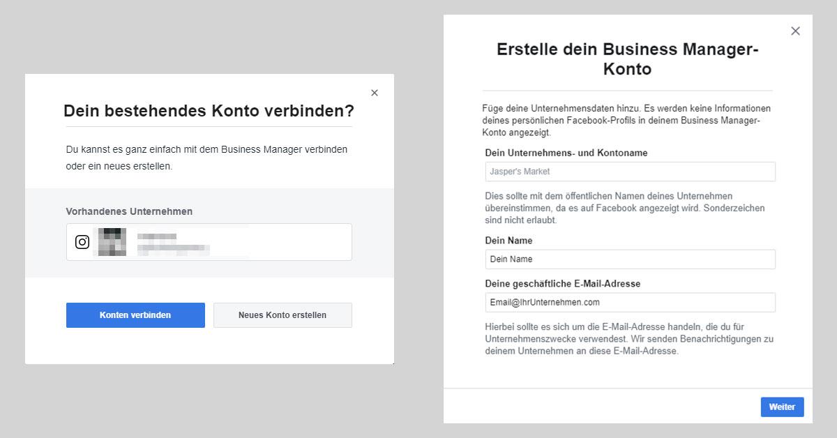 Ein Screenshot zeigt die Felder, die man beim Erstellen eines Business Manager Kontos ausfüllen muss.