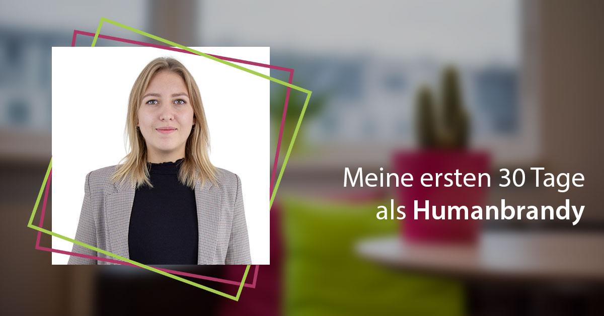 """Auf dem Bild sieht man ein Portraitbild von Magdalena Fischer mit dem Schriftzug: """"Meine ersten 30 Tage als Humanbrandy"""""""