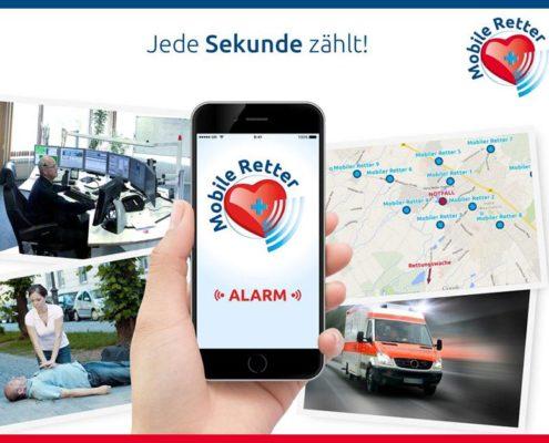 """Unter der Überschrift """"Jede Sekunde zählt"""" ist auf dem Bildschirm eines Smartphones die Mobile Retter-App zu sehen. Daneben sind vier kleine Bilder, etwa von einem Rettungswagen."""