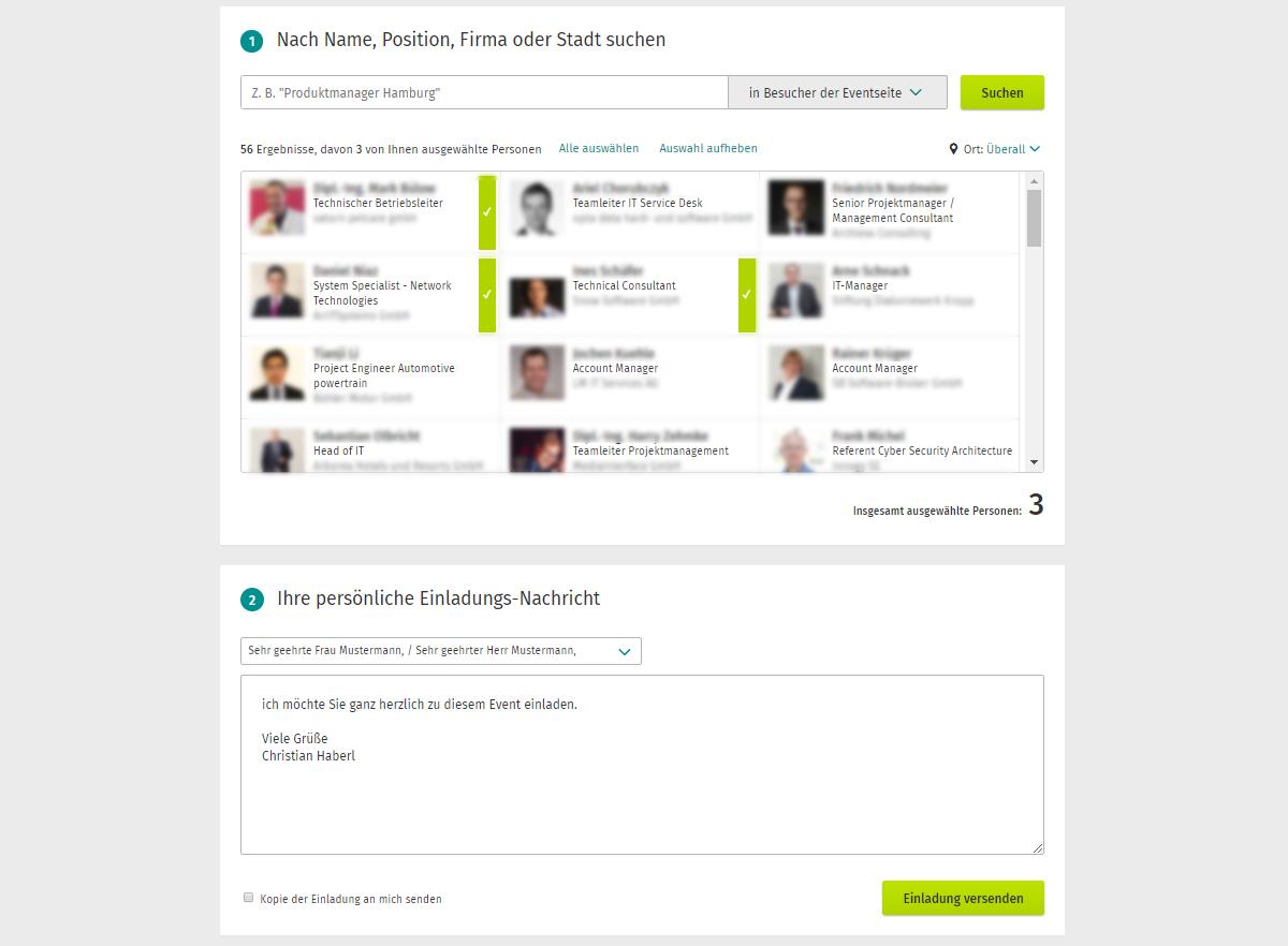 Ein Screenshot zeigt wie man mit XING Event Plus Besucher der Eventseite einladen kann.