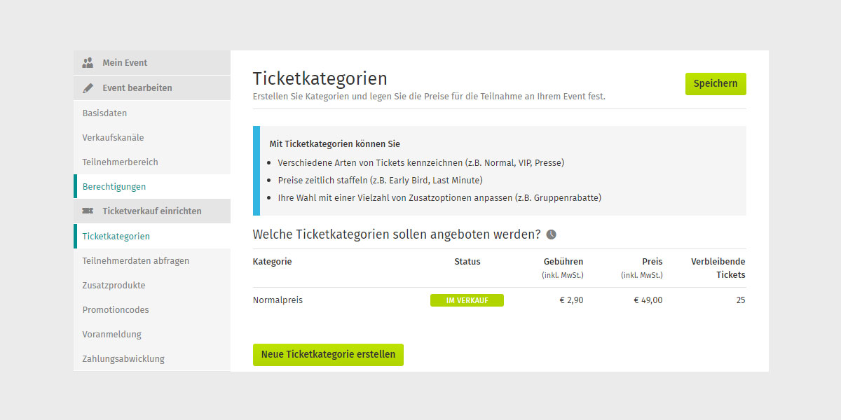 Ein Screenshot zeigt, wie man in XING Events diverse Ticketkategorien erstellen kann.
