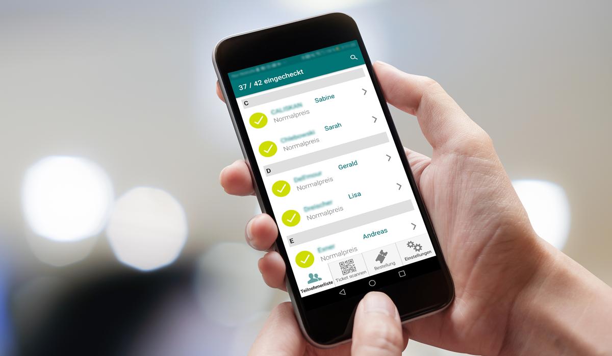 """Auf einem Smartphone-Bildschirm sieht man die Benutzeroberfläche der App """"EasyEntry"""" von XING Events."""
