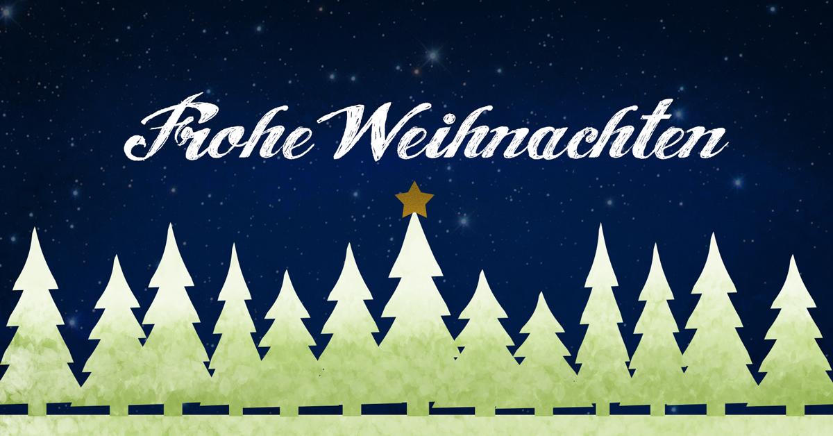 """Auf einem nächtlichen Sternenhimmel steht der Schriftzug """"Frohe Weihnachten"""". Darunter befindet sich eine Reihe von Tannenbäumen."""