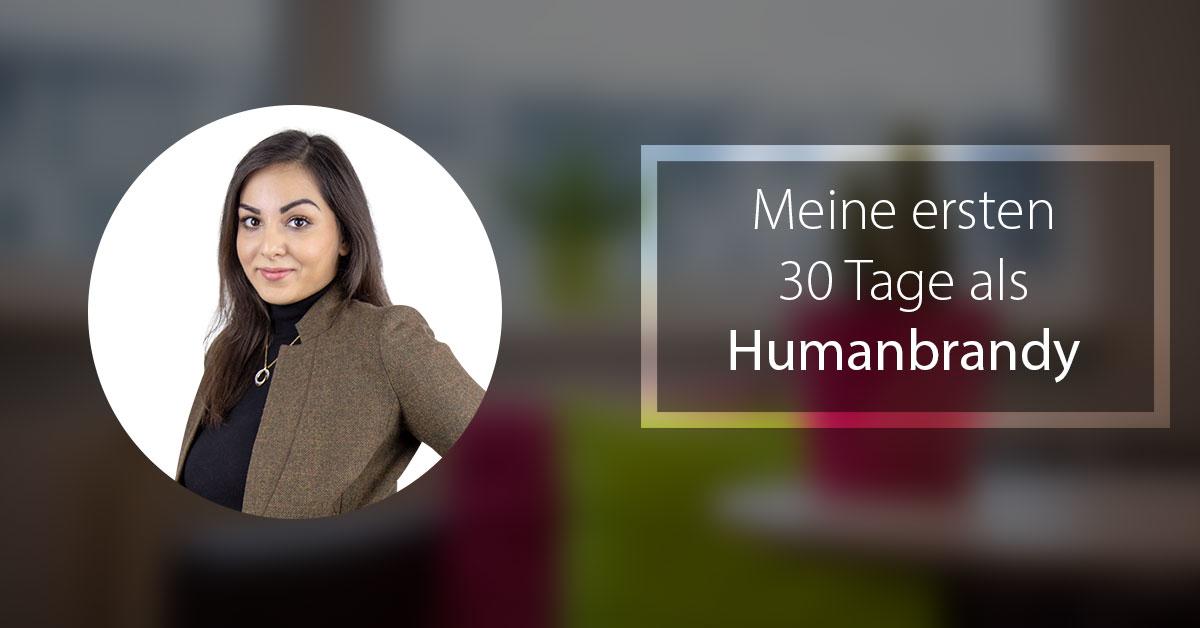 """Auf dem Bild sieht man ein Portraitbild von Nazanin Tayyebtaher mit dem Schriftzug: """"Meine ersten 30 Tage als Humanbrandy""""."""