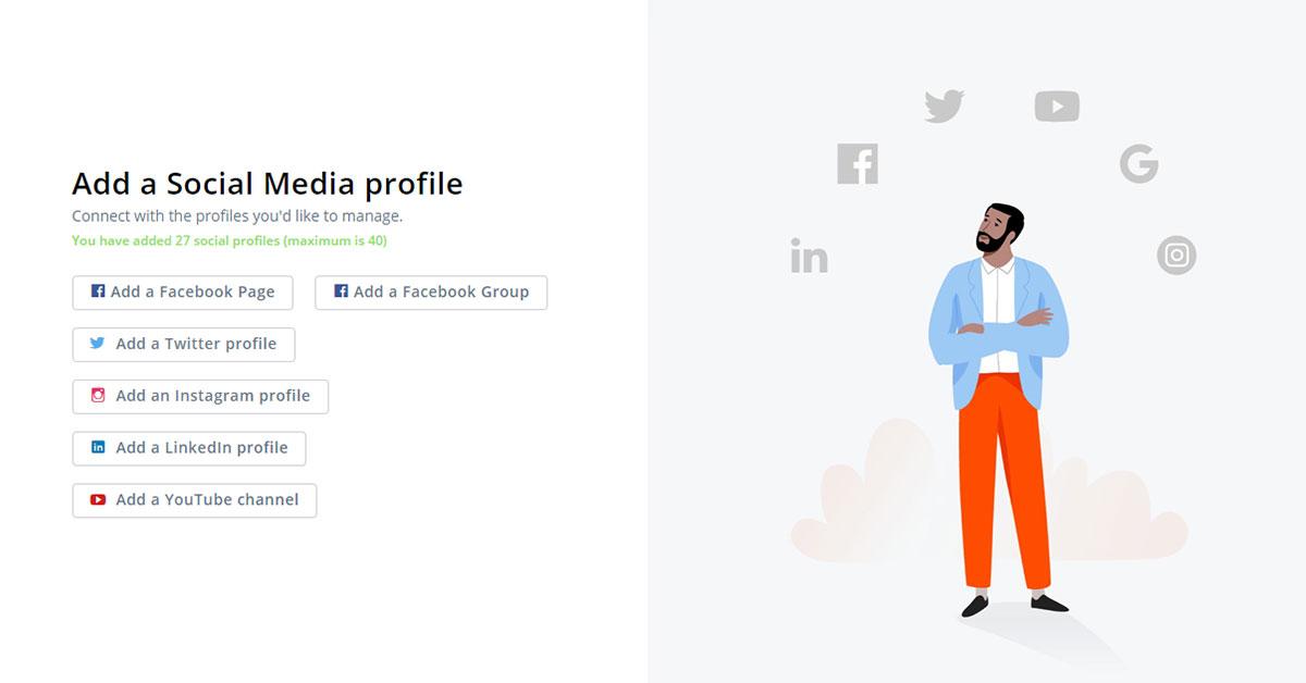 In der linken Bildhälfte sieht man mehrere Buttons zur Verknüpfung verschiedener Social Media Profile mit Agorapulse. Die rechte Bildhälfte füllt eine Illustration aus, oberhalb eines Mannes sind die Logos der Social Media Plattformen zu sehen.