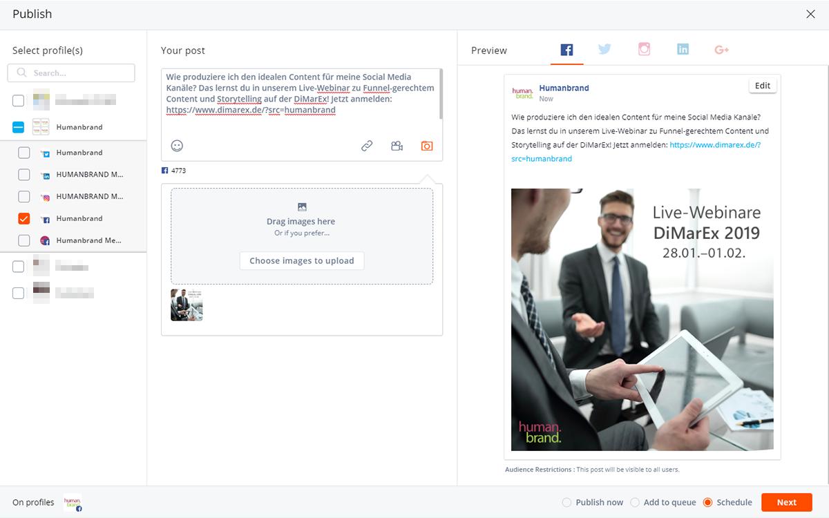 Auf dem Bild sieht man einen Facebook Beitrag für die DiMarEx, der über Agorapulse eingeplant wird.