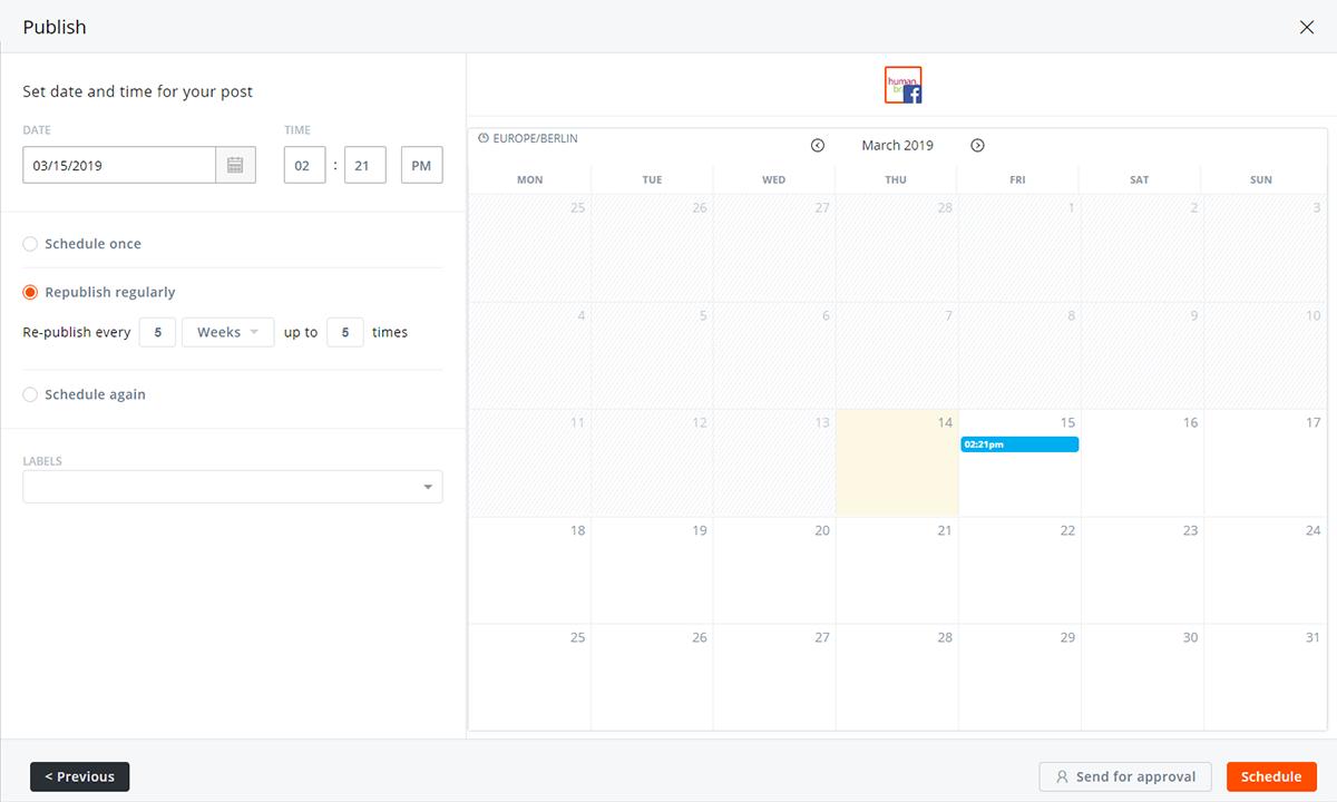 Auf dem Bild erkennt man einen Monatsplaner. Hier kann festgelegt werden, wann ein Beitrag veröffentlicht werden soll.