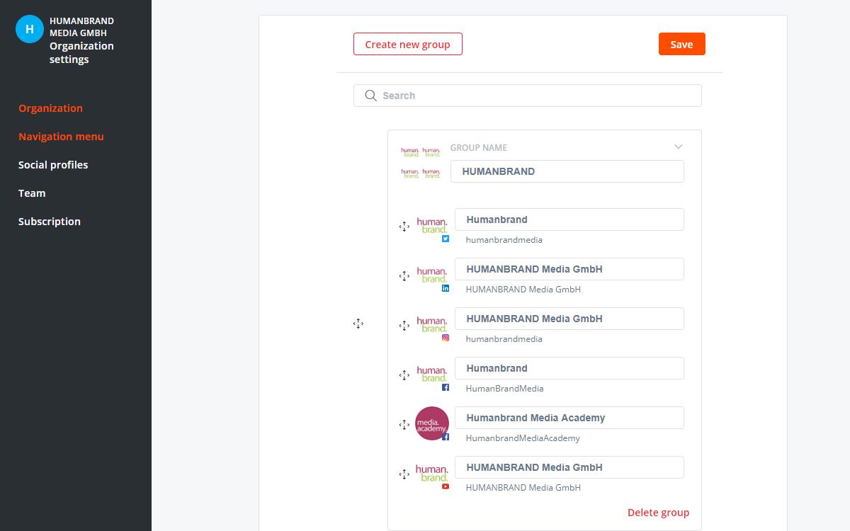 Im User-Interface von Agorapulse lassen sich die Accounts gruppieren und die Reihenfolge anpassen.