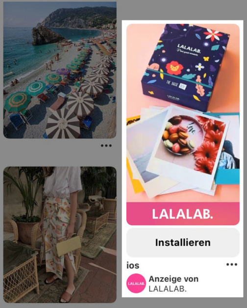 Auf dem Screenshot sieht man die Pinterest-App, in der gerade ein Promoted App-Pin angezeigt wird.