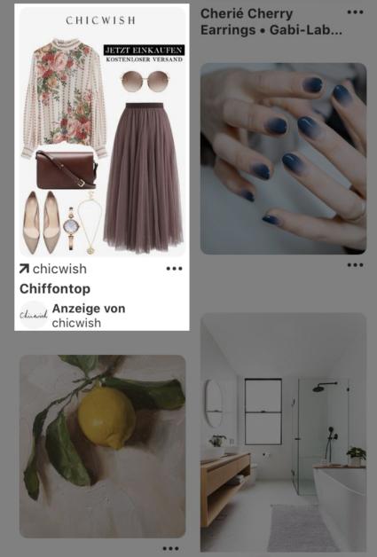Auf dem Screenshot sieht man die Pinterest-App, in der gerade ein Promoted Pin angezeigt wird.