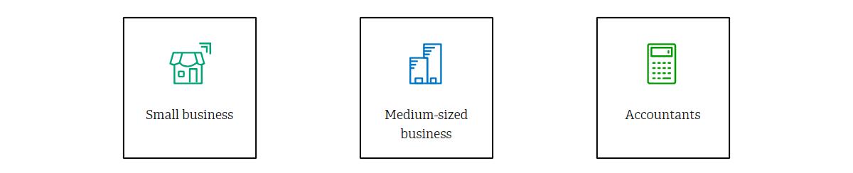 Eine Grafik über die drei Kernzielgruppen bei Sage: Small Business, Medium-sized business und Accountants