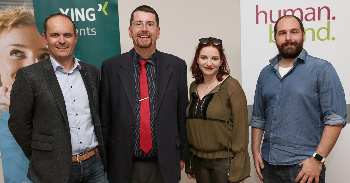 """Das Bild zeigt die vier Vortragenden des Events """"XING Events als Motor für die Leadgenerierung"""" in der HUMANBRAND Media Academy."""