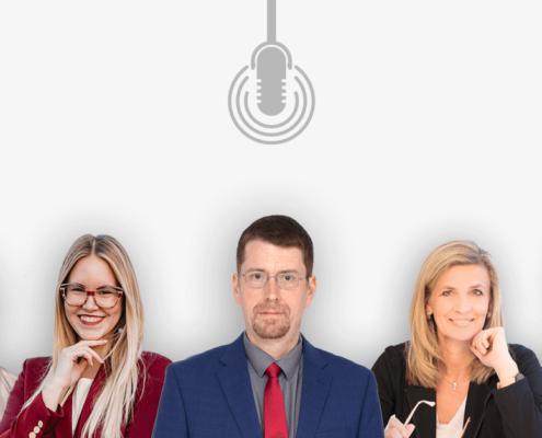 Das Bild zeigt die Profile von drei Männern und zwei Frauen, die in Podcasts über die Digitalisierung in Zeiten der Corona-Krise sprechen.