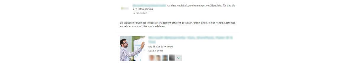 Das Bild zeigt einen Screenshot einer Eventanzeige.