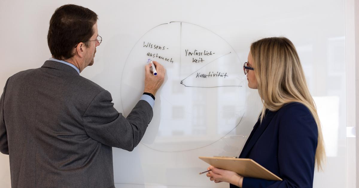 Ein Mann im Anzug und eine blonde Frau schauen auf eine gezeichnete Tabelle auf einem Whiteboard.