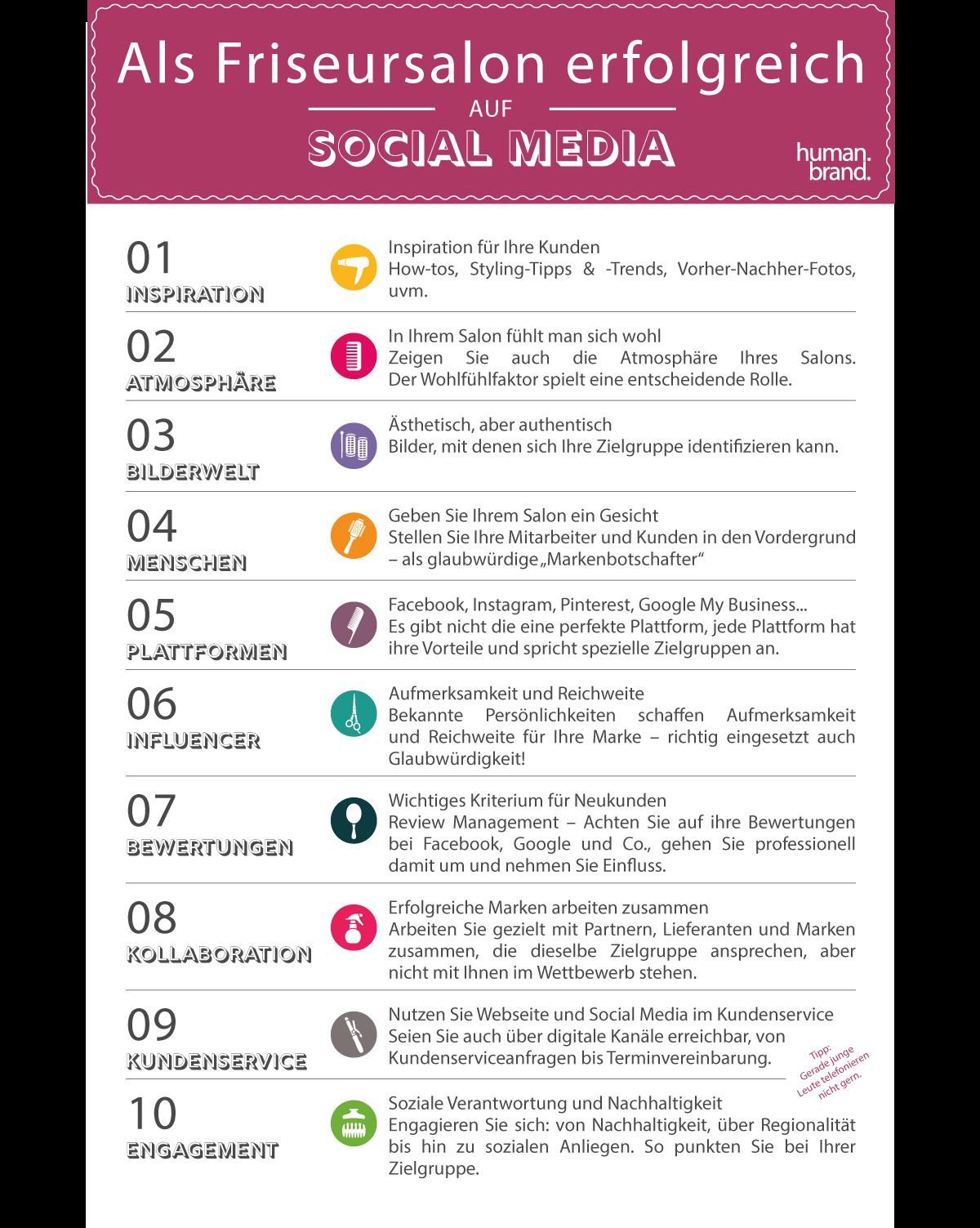 10 Tipps um als Friseursalon erfolgreich auf Social Media zu sein zusammengefasst als Bullet Points auf einem Bild