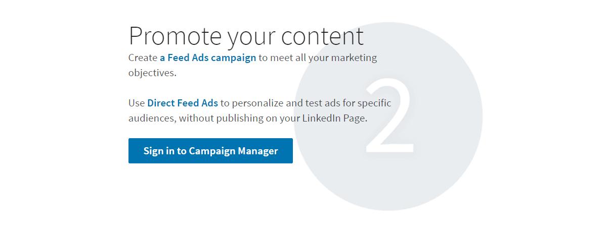 Das Bild zeigt eine Seite zu LinkedIn-Ads, auf der der neue Begriff Feed Ads im Kontext von Sponsored Content verwendet wird.