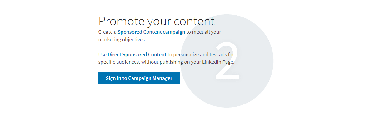 Das Bild zeigt eine Hilfeseite für LinkedIn-Ads, auf der der Begriff Sponsored Content verwendet wird.