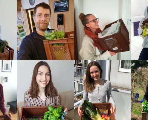 Eine Collage von acht Menschen lächelnd mit Obst Körben