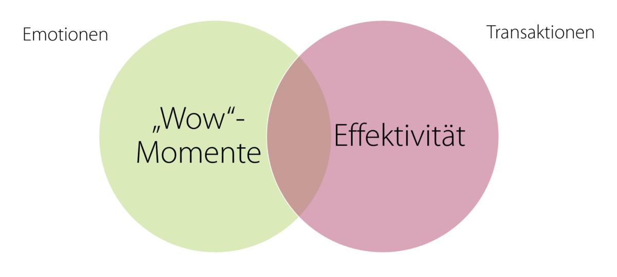 Zwei Kreise, welche sich überlappen, links steht WOW Momente und Effektivität im anderen