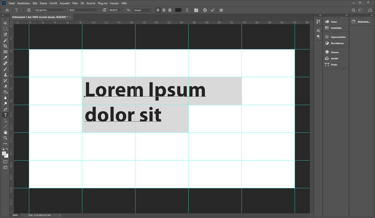 Ein Screenshot von Photoshop zeigt einen Lorem Ipsum Text